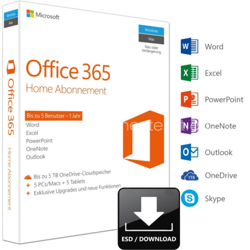 Microsoft Office 365 Home | 32/64-bit | D/F/I/E | 1 user/5 Geräte/1 Jahr | ESD